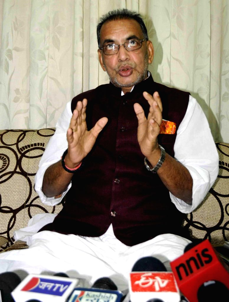 Union Minister for Agriculture Radha Mohan Singh during a press conference in Patna on June 21, 2014.