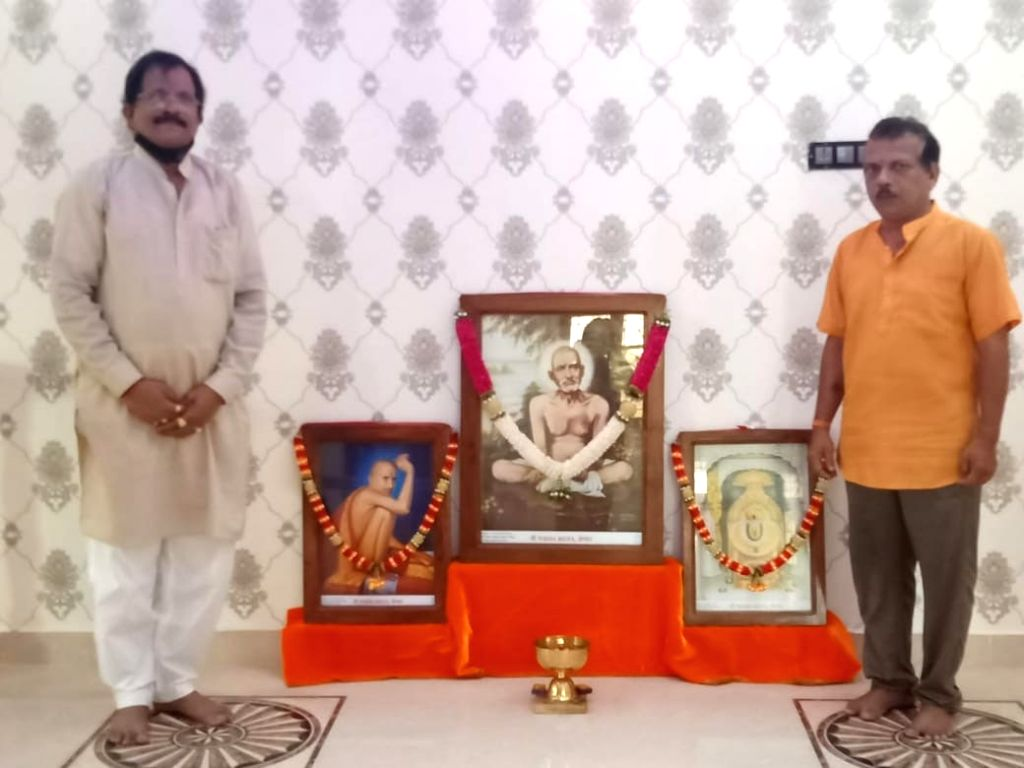 Union Minister for AYUSH Shripad Naik at the residence of Mahesh Degvekar in Nadora village in North Goa on Friday.