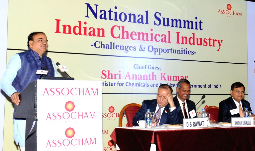 Union Minister for Chemicals and Fertilizers Ananth Kumar addresses at the National Summit on Indian Chemical Industry - Challenges and Opportunities, organised by ASSOCHAM, in New Delhi ... - Ananth Kumar