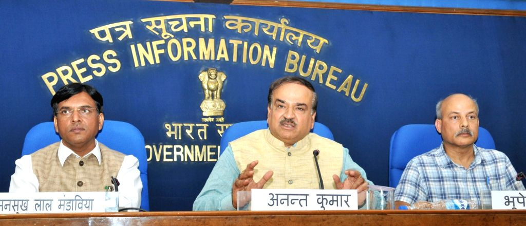 Union Minister for Chemicals and Fertilizers and Parliamentary Affairs Ananth Kumar addresses a press conference in New Delhi on August 16, 2017. Also seen Minister of State for Road ... - Affairs Ananth Kumar