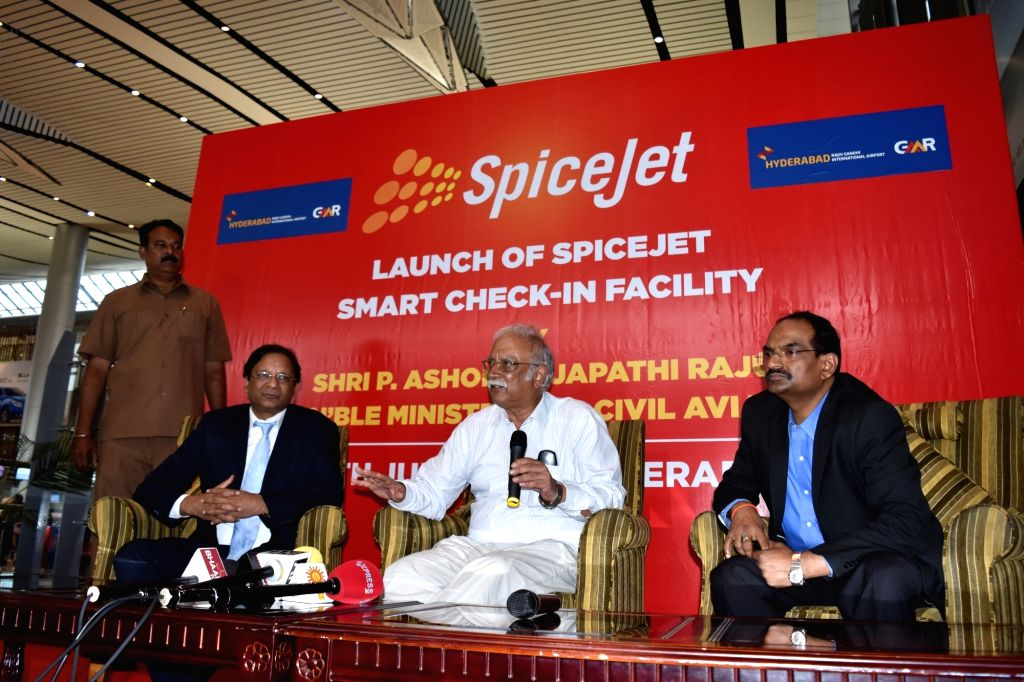 Union Minister for Civil Aviation Ashok Gajapathi Raju during the launch of Spicejet's Smart Cheack-in-facility at Shamshabad Airport in Hyderabad on July 29, 2016.