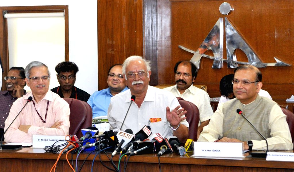 Union Minister for Civil Aviation Ashok Gajapathi Raju Pusapati addressing a press conference on the achievements of the Ministry during 3 years of NDA Government, in New Delhi on May 30, ...