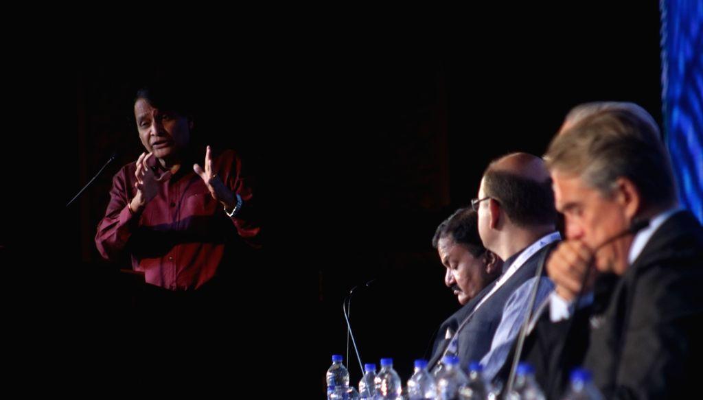 Union Minister for Civil aviation Suresh Prabhu addresses during the opening session of 'International Aviation Summit' in new Delhi on Sept. 4, 2018. - Suresh Prabhu