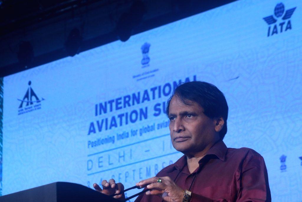 Union Minister for Civil aviation Suresh Prabhu addresses during the opening session of International Aviation Summit in new Delhi on Sept. 4, 2018. - Suresh Prabhu