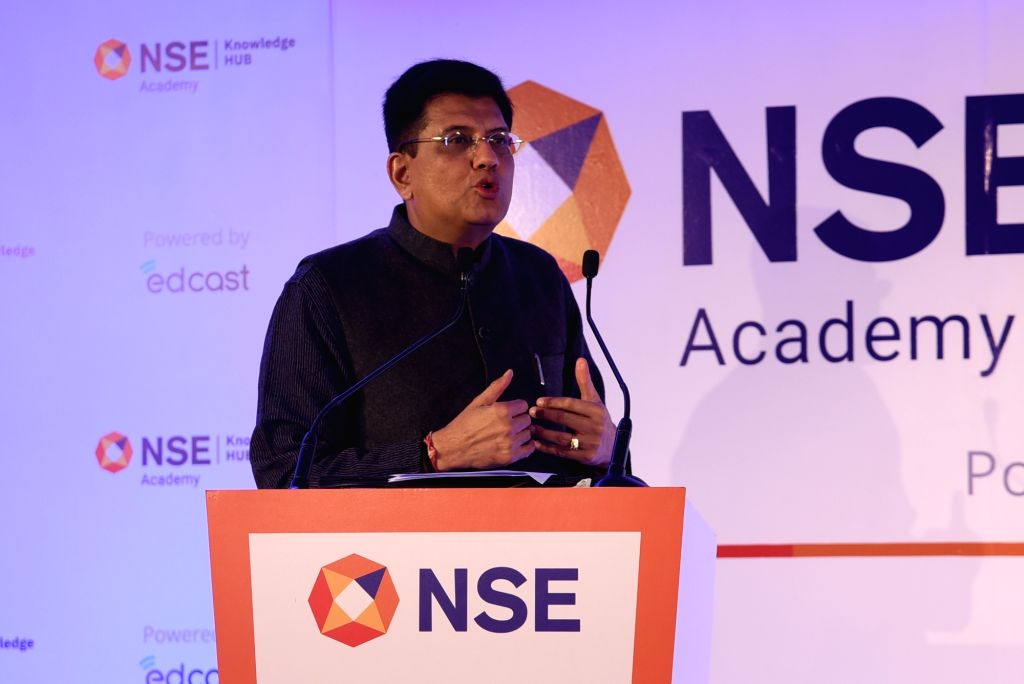 Union Minister for Commerce and Industry Piyush Goyal addresses at the inauguration of The National Stock Exchange (NSE) Knowledge Hub in New Delhi on Jan 6, 2020.