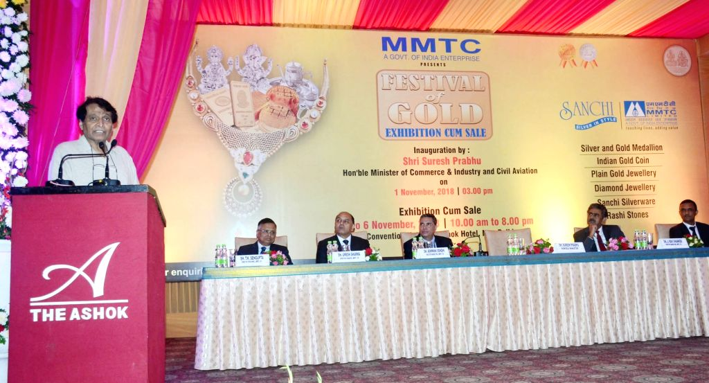 Union Minister for Commerce & Industry and Civil Aviation Suresh Prabhu addresses at the inauguration of the MMTC's Festival of Gold Exhibition cum Sale, in New Delhi on Nov. 1, 2018. - Suresh Prabhu
