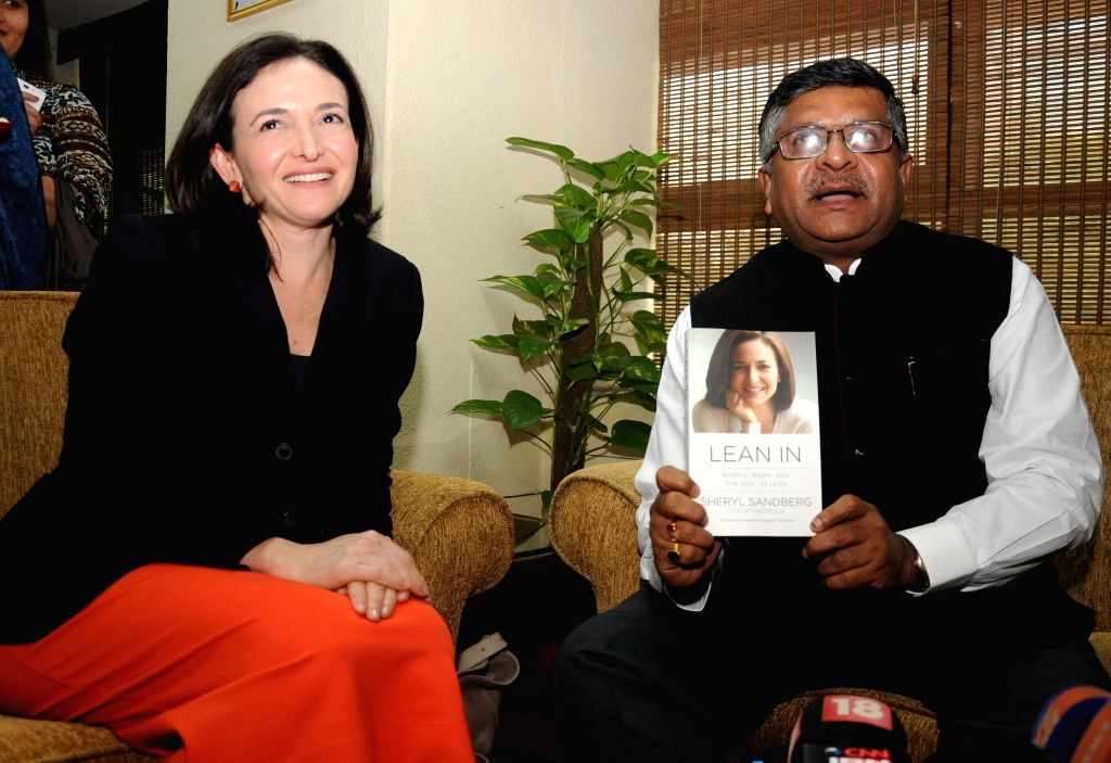 Union Minister for Communications and Information Technology, and Law and Justice, Ravi Shankar Prasad during a meeting with Facebook COO Sheryl Sandberg in New Delhi on July 3, 2014.