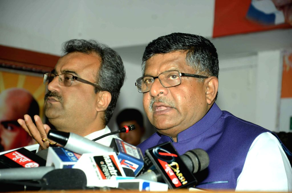 Union Minister for Communications and Information Technology Ravi Shankar Prasad addresses a press conference in Patna on Oct 17, 2015.