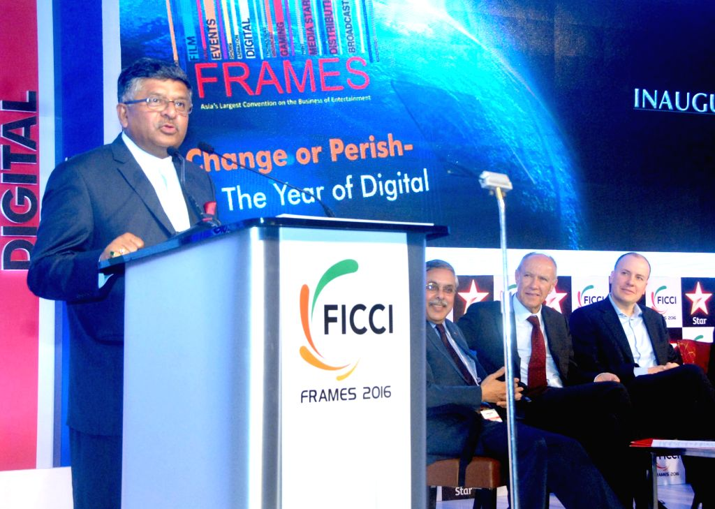 "Union Minister for Communications and Information Technology Ravi Shankar Prasad addresses at the inauguration of the ""FICCI-FRAME 2016"" in Mumbai on March 30, 2016."