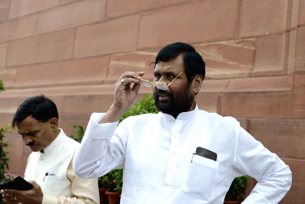 Union Minister for Consumer Affairs, Food and Public Distribution Ramvilas Paswan at the Parliament in New Delhi, on Aug 11, 2015.