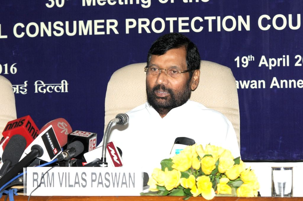 Union Minister for Consumer Affairs, Food and Public Distribution Ram Vilas Paswan addresses a press conference in New Delhi on April 19, 2016.