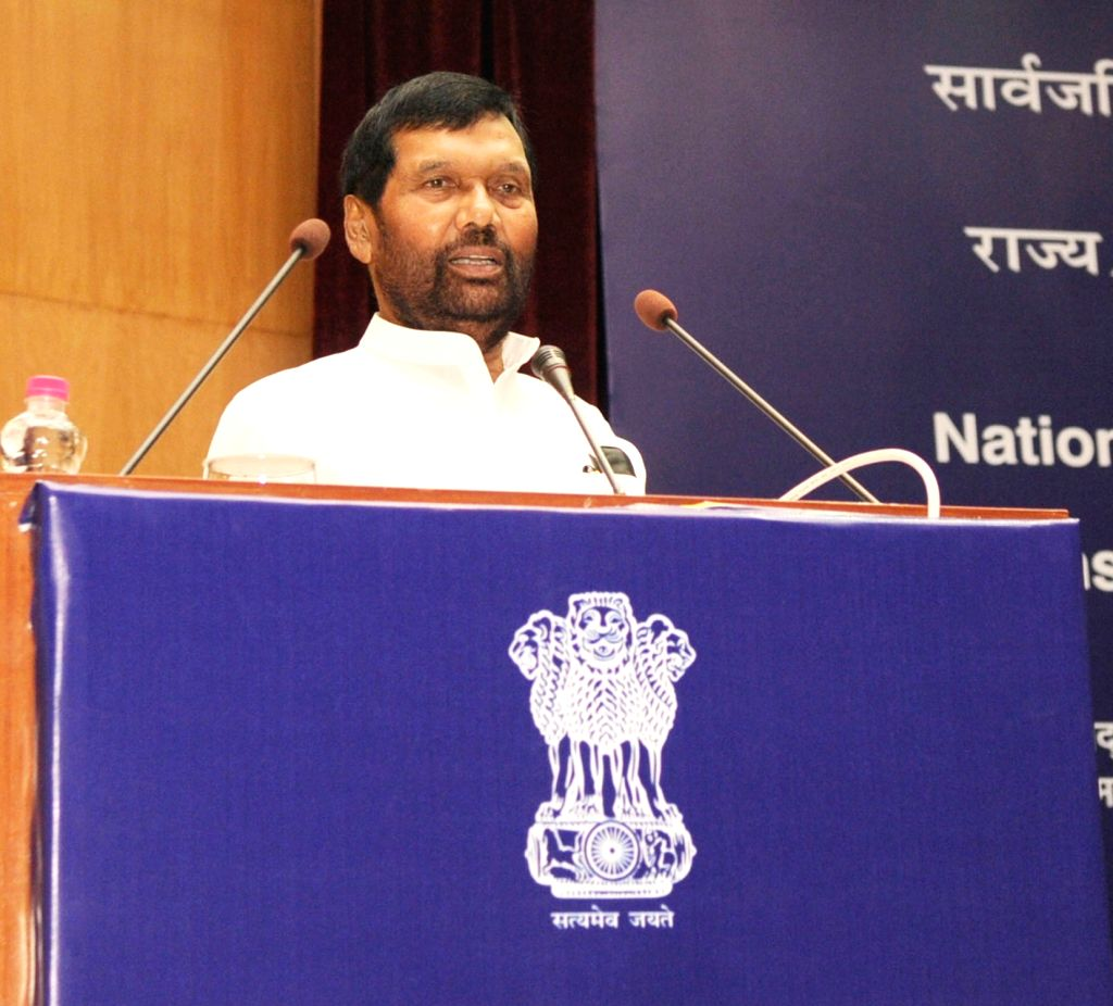 Union Minister for Consumer Affairs, Food and Public Distribution Ram Vilas Paswan delivers the inaugural address at the Conference of State Food and Consumer Affairs Secretaries, to ...