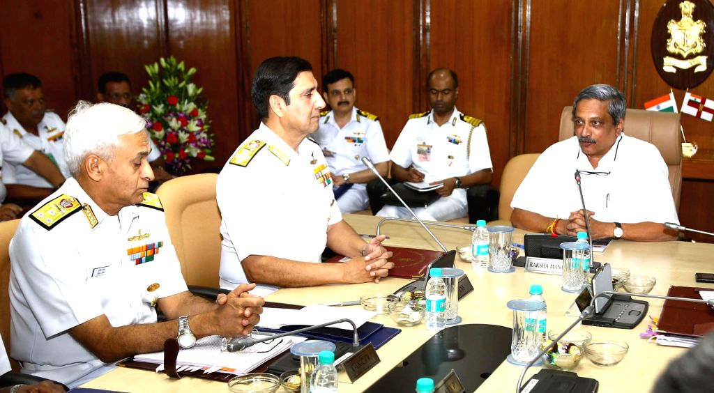 Union Minister for Defence Manohar Parrikar addresses the Naval Commanders, during the Naval Commanders' conference, in New Delhi on April 21, 2016.