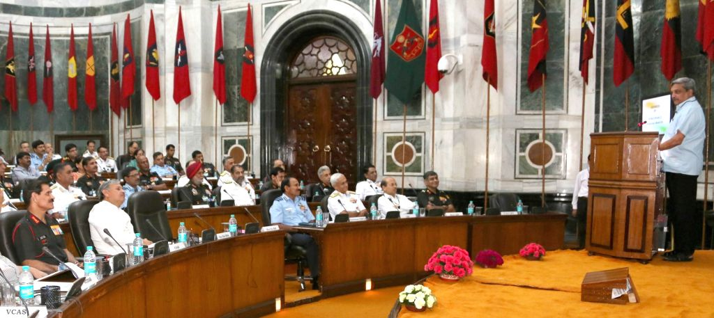 Union Minister for Defence Manohar Parrikar addresses the Annual Unified Commanders' Conference (UCC) for Tri-Services Commanders', in New Delhi on June 23, 2016. Also seen the Minister of ... - Rao Inderjit Singh and Dalbir Singh