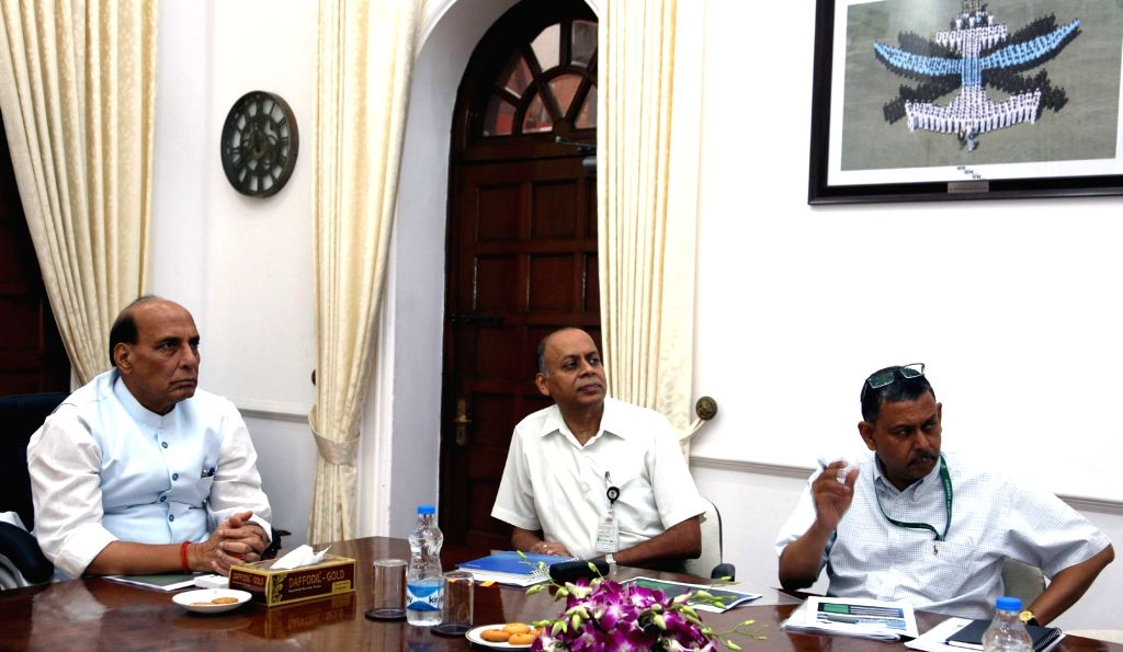Union Minister for Defence Rajnath Singh reviews the progress on works related to Defence Industrial Corridors with the Secretary (Defence Production), Dr. Ajay Kumar and other senior ... - Rajnath Singh and Ajay Kumar