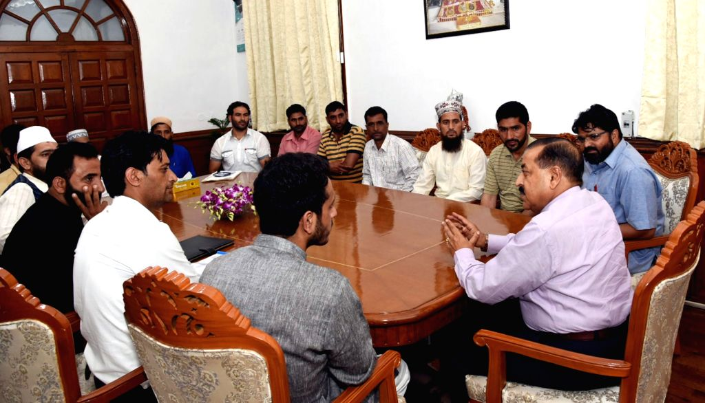 Union Minister for Development of North Eastern Region (DoNER) Jitendra Singh interacts with the Sarpanches from Doda district of Jammu and Kashmir, in New Delhi on Sep 12, 2019. - Jitendra Singh