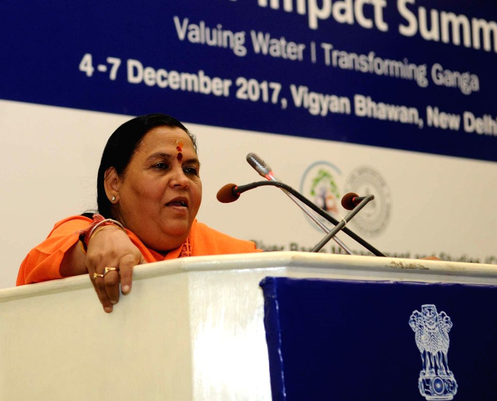 Union Minister for Drinking Water and Sanitation Uma Bharti addresses at the India Water Impact Summit 2017 in New Delhi on Dec 5, 2017.