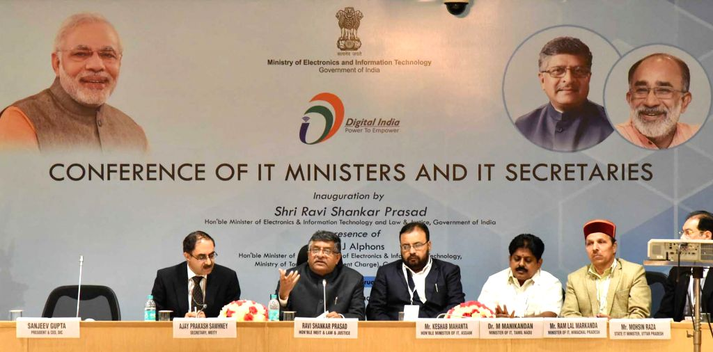 Union Minister for Electronics and Information Technology and Law and Justice Ravi Shankar Prasad addresses at the concluding function of the State IT Ministers Conclave in New Delhi on ... - Conclave