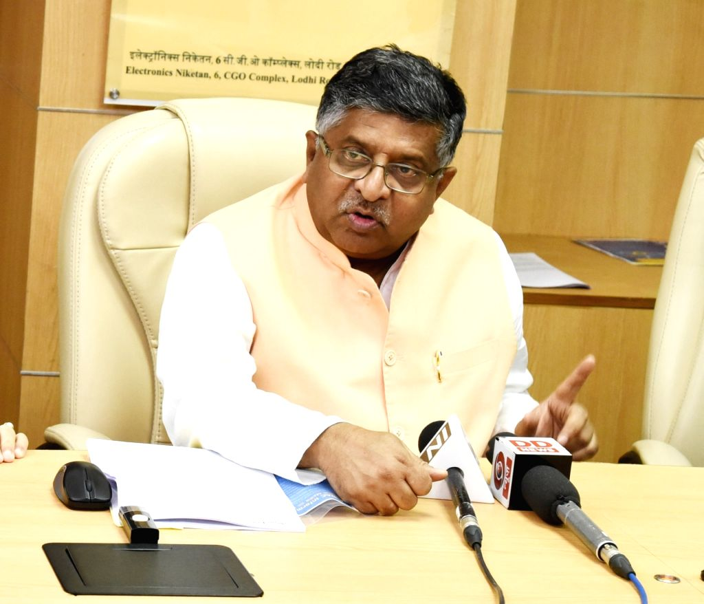Union Minister for Electronics and Information Technology and Law and Justice Ravi Shankar Prasad talks to the media at the launch of Centre for Development of Advanced Computing (C-DAC) ...