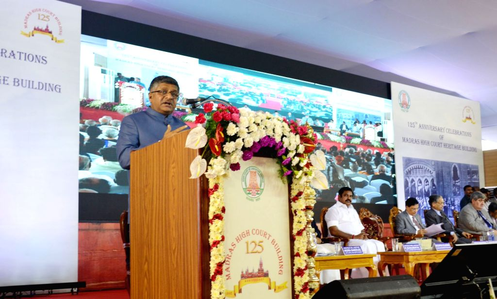 Union Minister for Electronics and IT and Law and Justice Ravi Shankar Prasad addresses at a programme organised to celebrate 125th Year of the Historical Madras High Court Building in ...
