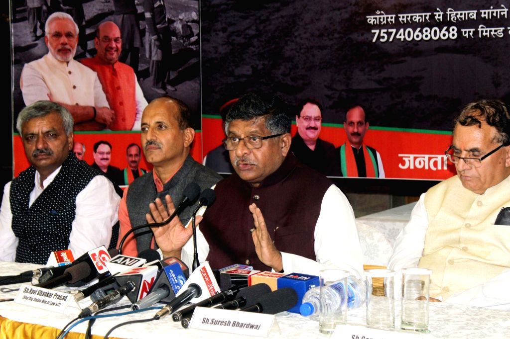 Union Minister for Electronics and IT and Law and Justice Ravi Shankar Prasad addresses a press conference in Shimla on Sept 18, 2017.