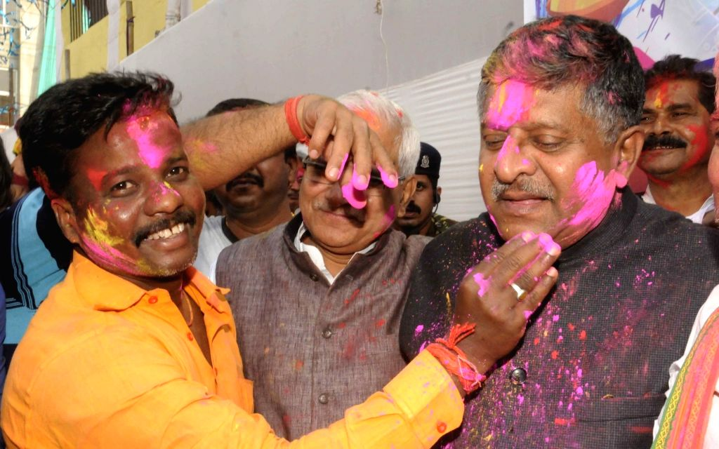 Union Minister for Electronics & Information Technology and Law & Justice Ravi Shankar Prasad during a 'Holi Milan Samaroh' in Patna on March 10, 2017.