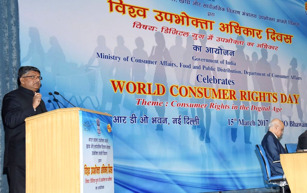 Union Minister for Electronics & Information Technology and Law & Justice Ravi Shankar Prasad addresses during World Consumer Rights Day Function 2017, in New Delhi on March 15, ...