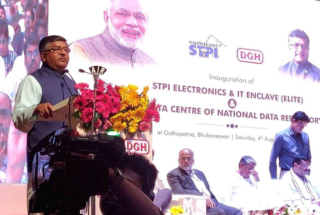 Union Minister for Electronics & Information Technology and Law & Justice Ravi Shankar Prasad addresses at the inauguration of the STPI Electronics & IT Enclave (ELITE) and ...