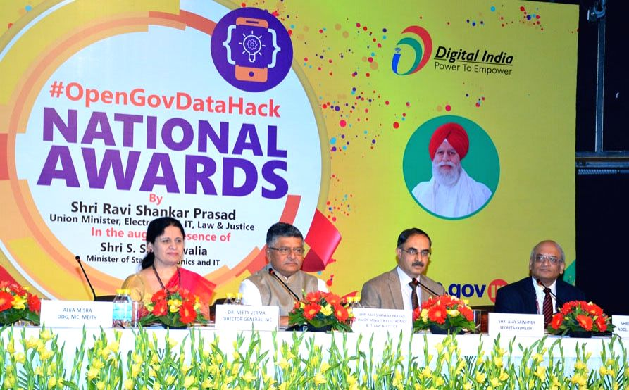 "Union Minister for Electronics & Information Technology and Law & Justice Ravi Shankar Prasad at an event to felicitate winners of the ""#OpenGovDataHack"" National ..."