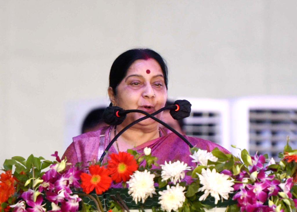 Union Minister for External Affairs Sushma Swaraj addresses at the foundation stone laying of Dwarka Expressway and Delhi-Mumbai Expressway; and inauguration of Jaipur ring road, at ... - Sushma Swaraj