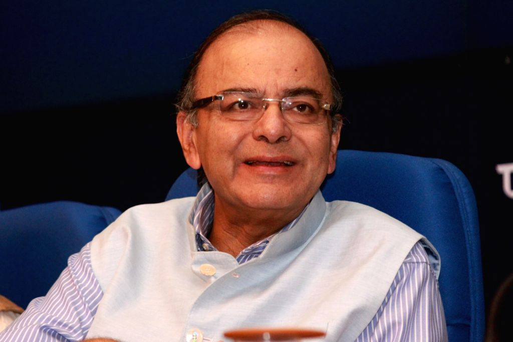 Union Minister for Finance and Corporate Affairs Arun Jaitley addresses a press conference in New Delhi on Aug 4, 2016. - Affairs Arun Jaitley