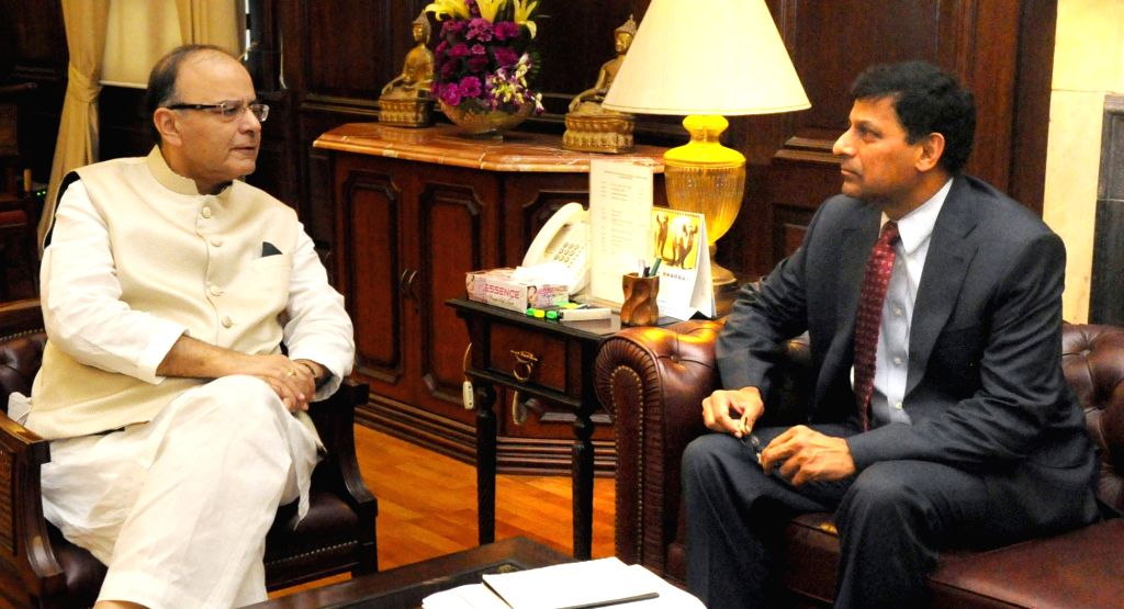 Union Minister for Finance and Corporate Affairs Arun Jaitley holds the Pre-Policy discussion with the Governor of Reserve Bank of India, Dr. Raghuram Rajan, in New Delhi on Aug 5, 2016. - Affairs Arun Jaitley