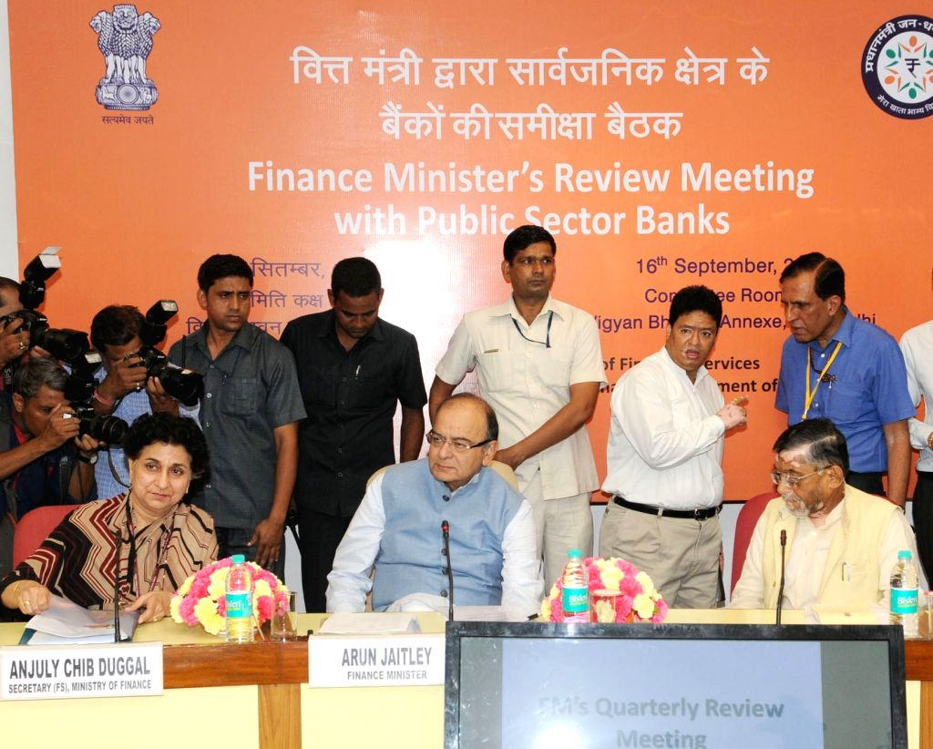 Union Minister for Finance and Corporate Affairs Arun Jaitley holding the quarterly performance review meeting of the Chairman and Managing Directors/CEOs of Public Sector Banks (PSBs) ... - Affairs Arun Jaitley and Santosh Kumar Gangwar