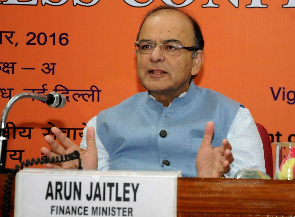Union Minister for Finance and Corporate Affairs Arun Jaitley addresses a press conference after holding the Quarterly Performance Review Meeting of the Chairman/Managing Directors/CEOs of ... - Affairs Arun Jaitley