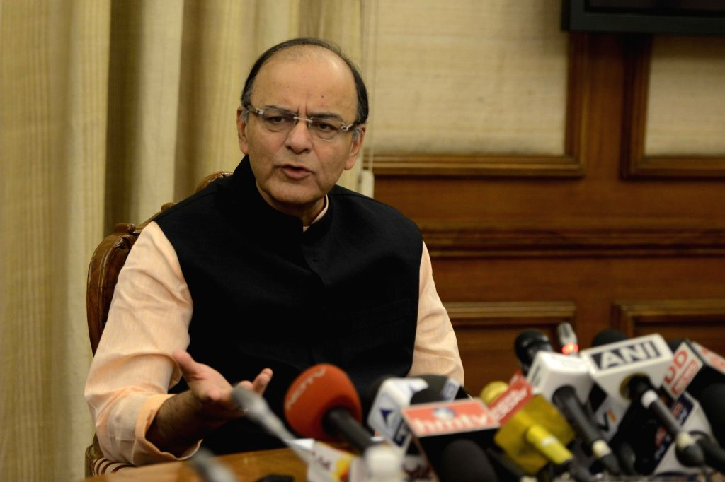 Union Minister for Finance and Corporate Affairs Arun Jaitley addresses a press conference in New Delhi on Sept 28, 2016. - Affairs Arun Jaitley