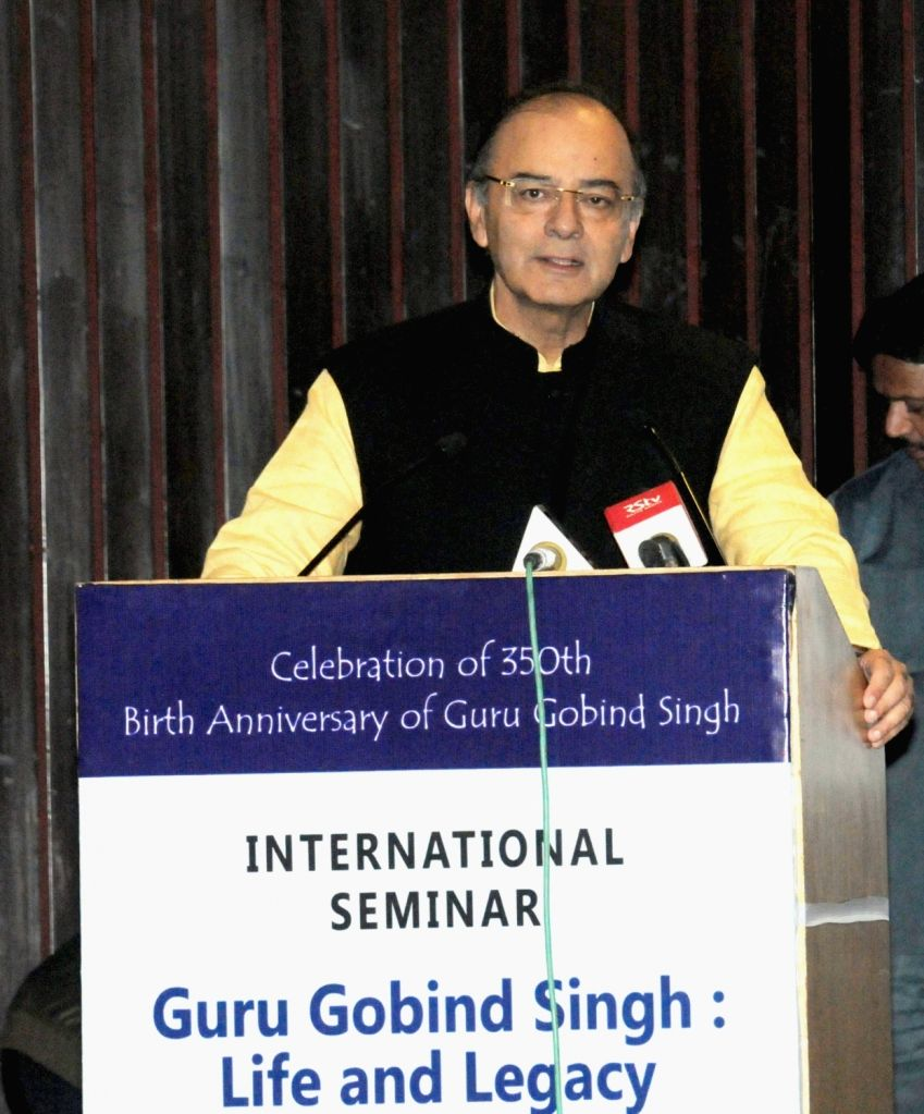 Union Minister for Finance and Corporate Affairs Arun Jaitley addresses at the inauguration of the International Seminar on 'Guru Gobind Singh: Life and Legacy' in New Delhi on Nov 25, ... - Affairs Arun Jaitley and Gobind Singh