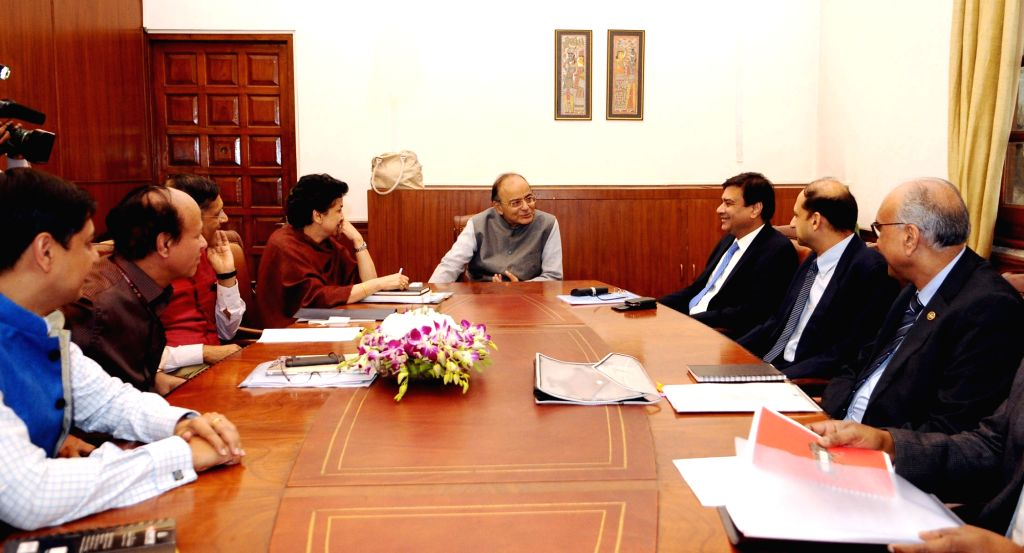 Union Minister for Finance and Corporate Affairs Arun Jaitley chairs a meeting with DFS/RBI officials, in New Delhi on March 10, 2017. - Affairs Arun Jaitley