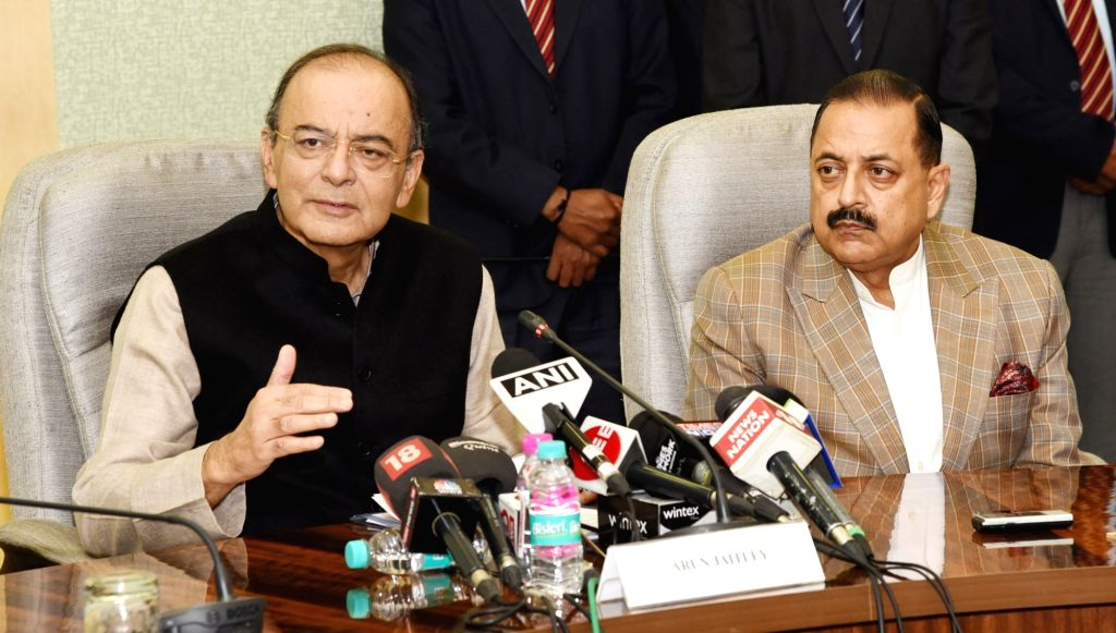 Union Minister for Finance and Corporate Affairs Arun Jaitley along with MoS Development of North Eastern Region (I/C), Prime Minister's Office, Personnel, Public Grievances & ... - Affairs Arun Jaitley and Jitendra Singh