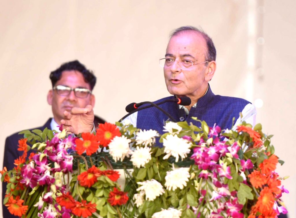 Union Minister for Finance and Corporate Affairs Arun Jaitley addresses at the foundation stone laying of Dwarka Expressway and Delhi-Mumbai Expressway; and inauguration of Jaipur ring ... - Affairs Arun Jaitley