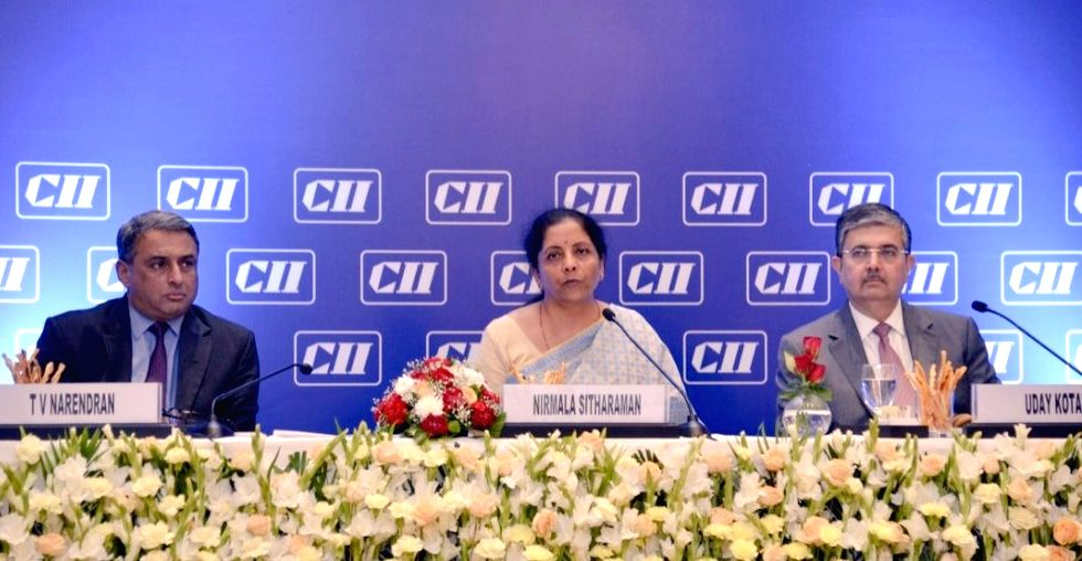 Union Minister for Finance and Corporate Affairs Nirmala Sitharaman addresses the National Council Meeting of CII, in New Delhi on Aug 9, 2019.
