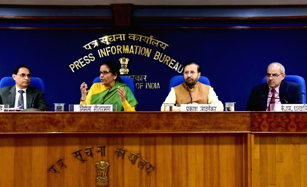 Union Minister for Finance and Corporate Affairs Nirmala Sitharaman and the Union Minister for Environment, Forest & Climate Change, Information & Broadcasting and Heavy Industries ...