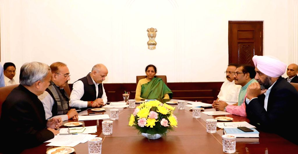 Union Minister for Finance and Corporate Affairs Nirmala Sitharaman in a meeting with the Finance Ministers of Kerala, Rajasthan, Punjab, Madhya Pradesh, Chhattisgarh and Delhi, in New ...
