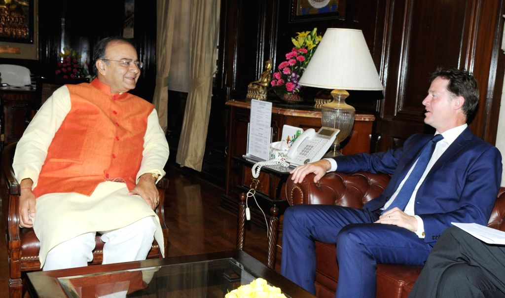 Union Minister for Finance, Corporate Affairs and Defence Arun Jaitley during a meeting with Deputy Prime Minister of United Kingdom Nick Clegg in New Delhi on Aug 25, 2014.