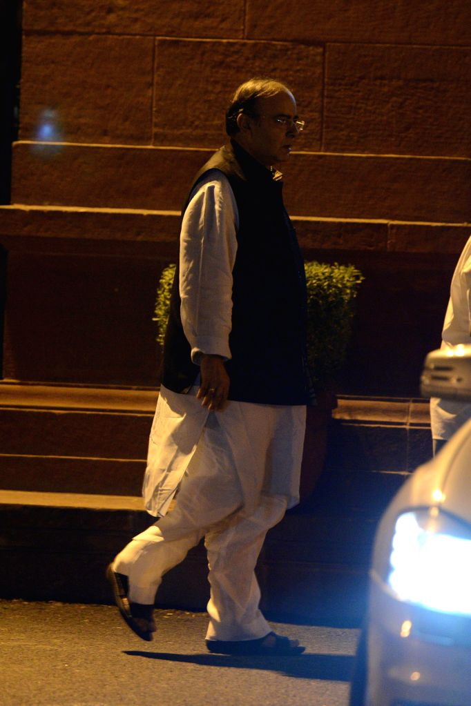 Union Minister for Finance, Corporate Affairs and Defence Arun Jaitley leaves after a cabinet meeting in New Delhi on Sept 10, 2014. - Arun Jaitley