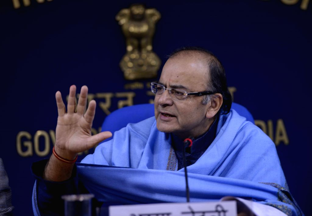 Union Minister for Finance, Corporate Affairs, and Information and Broadcasting Arun Jaitley addresses a press conference in New Delhi, on Dec 29, 2014.
