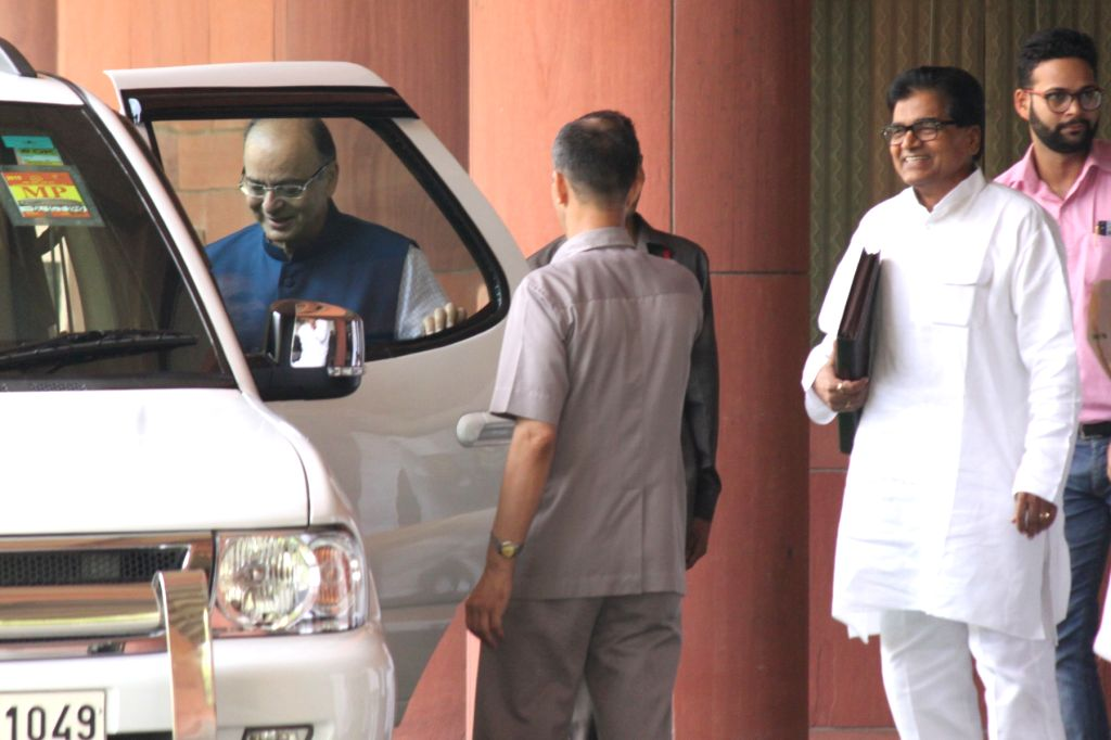 Union Minister for Finance, Corporate Affairs and Information and Broadcasting Arun Jaitley and Samajwadi Party MP Ram Gopal Yadav after an all party meeting at Parliament House in New ... - Arun Jaitley and Gopal Yadav