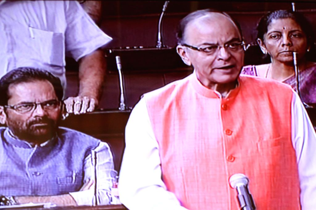 Union Minister for Finance, Corporate Affairs, and Information and Broadcasting Arun Jaitley addresses during Rajya Sabha session at the Parliament in New Delhi, on Aug 10, 2015. - Arun Jaitley