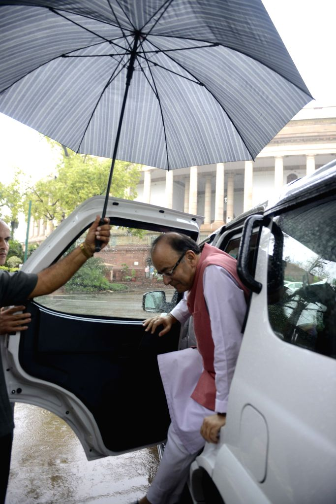 Union Minister for Finance, Corporate Affairs, and Information and Broadcasting Arun Jaitley at the Parliament in New Delhi, on Aug 11, 2015. - Arun Jaitley