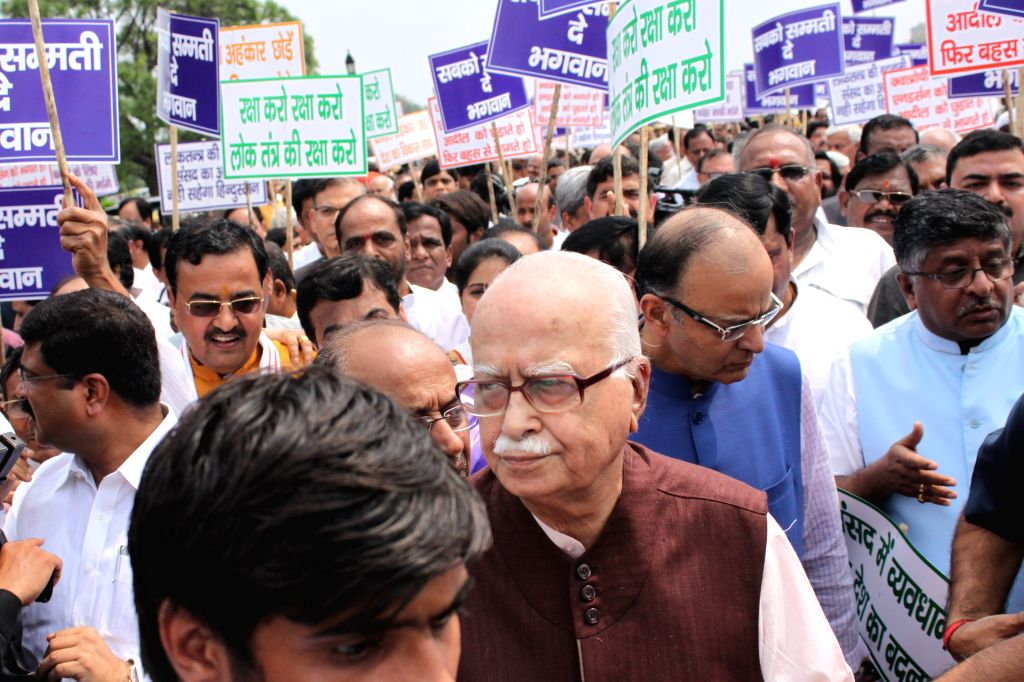 Union Minister for Finance, Corporate Affairs, and Information and Broadcasting Arun Jaitley and BJP veteran L K Advani participate in `Save Democracy` rally at Vijay Chowk  in New Delhi, ... - Arun Jaitley and L K Advani