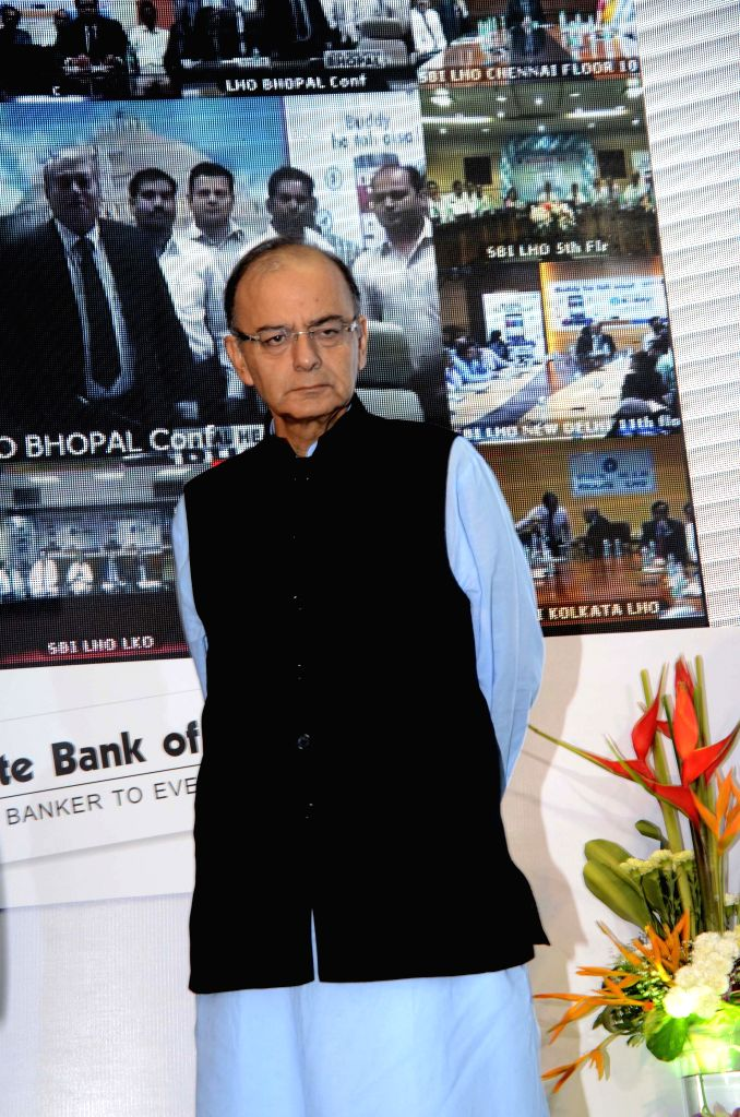 Union Minister for Finance, Corporate Affairs, and Information and Broadcasting Arun Jaitley addresses during the launch of SBI`s `Mobile Wallet - Anyone-Anytime-Anywhere` in Mumbai, on Aug ...